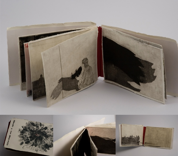 "Akvile Miseviciute    ""One thousand and one (sad) story""  /// handmade book//  etching, dry point, aquatint"