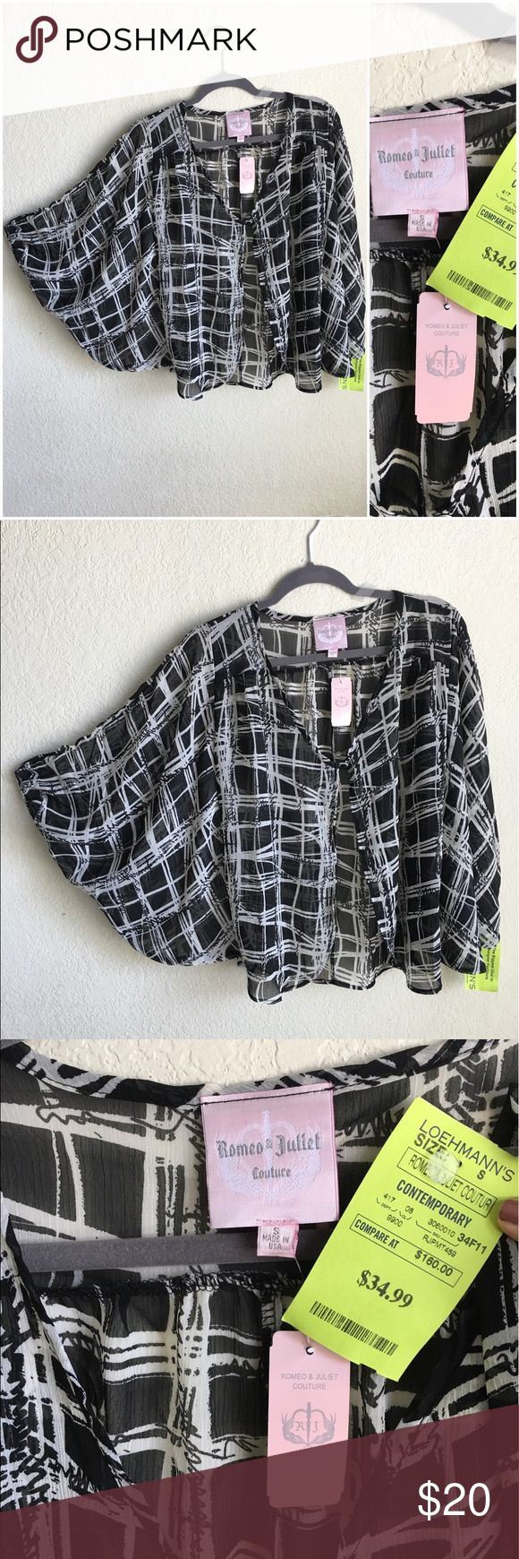 NWT Romeo & Juliet Couture Batwing Cardigan Kimono Gorgeous new with tags cape kimono. Sheer with a gun Black and white print. Oversized small. Romeo & Juliet Couture Tops Blouses