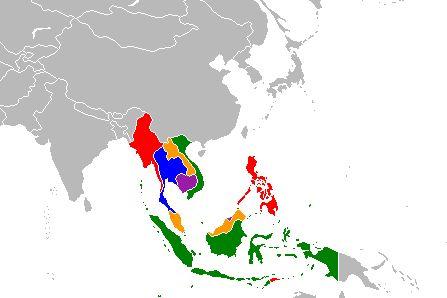 En rouge: Myanmar, Philippines, Timor oriental  En violet: Brunei, Cambodge  En bleu: Thaïlande, Singapour  En orange: Laos, Malaisie  En vert: Vietnam, Indonésie