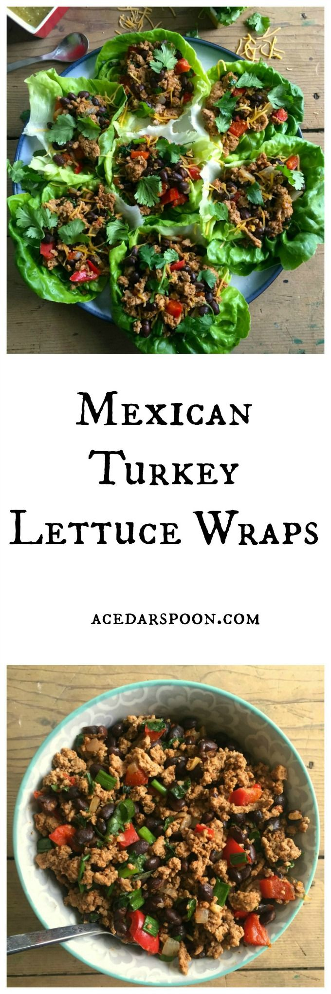 Mexican Turkey Lettuce Wraps are made in under 20 minutes. If you like tacos, this will be right up your alley but a lighter, healthier version with the same flavor. This makes a great light lunch, or an easy dinner for the family.// A Cedar Spoon