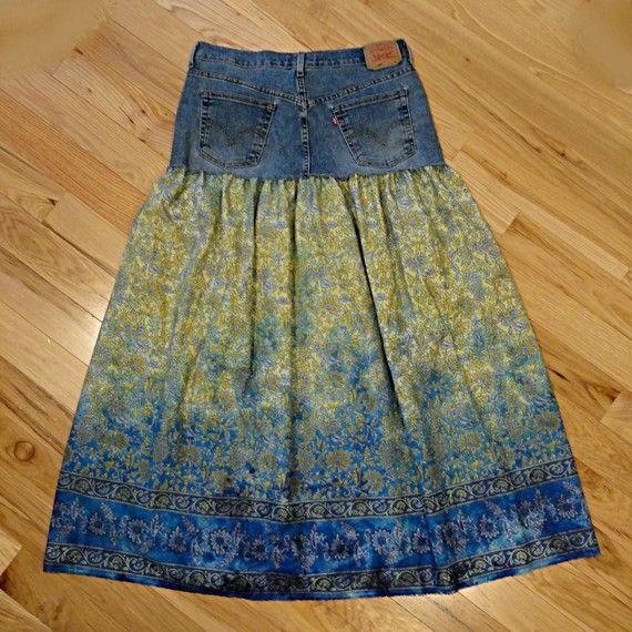 Paisley & Blue Jeans Long Skirt Long Jeans Skirt by DenimDiva2day