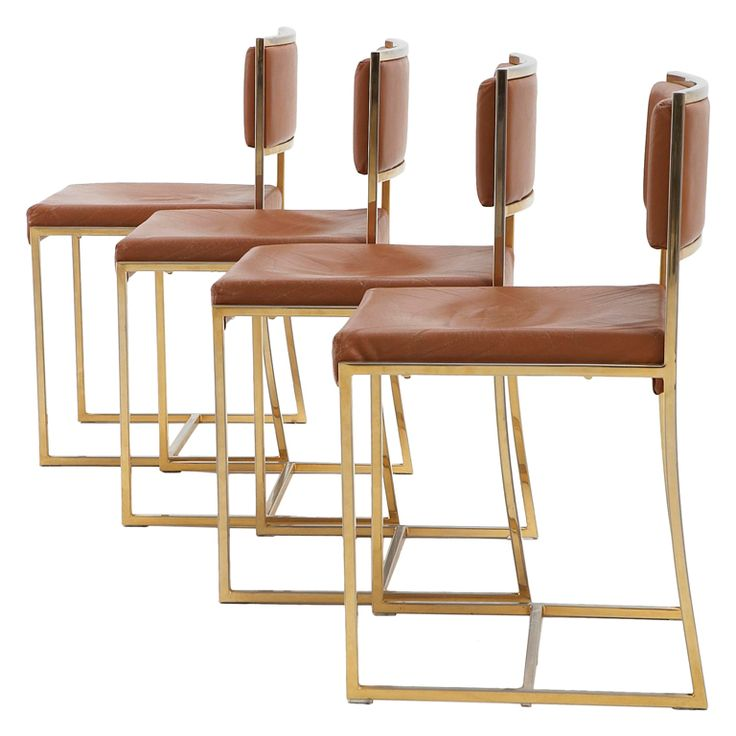 dining chairs bar stools. 4 dining chairs in the manner of willy rizzo - brass and leather bar stools e