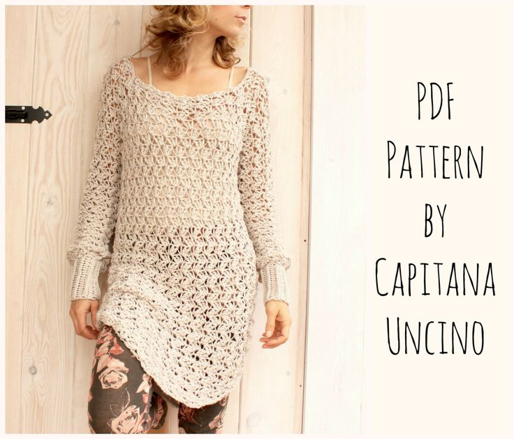 PDF-file for Crochet PATTERN, Minerva Crochet Tunic Dress, 3 different Sizes: xs-xxl, Beach Cover up by CapitanaUncino on Etsy