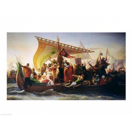 The Crossing of the Bosphorus by Godfrey of Bouillon Canvas Art - Emile Signol (36 x 24)