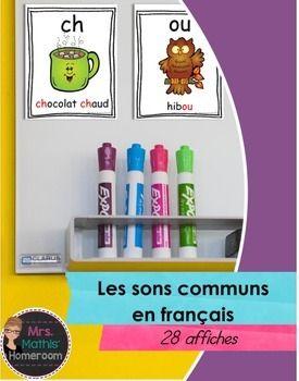 Affichez les sons communs de la langue franaise dans votre classe!  Voici une srie de 28 fiches simples et facile   lire. Chaque affiche inclut le son, une image et un mot. Les sons suivants sont inclus avec achat : -ch-  ou-  ui-  en, em-  an- au-eau-  in-  om- ein-  oi-  on-eur-  gu-  gn-  ai-  ei-  er-qu-  ille-  ail-  eille-  euille- ouille-ien-  illon- u        - thImprimer les fiches sur du papier pais et les laminer pour durabilit.