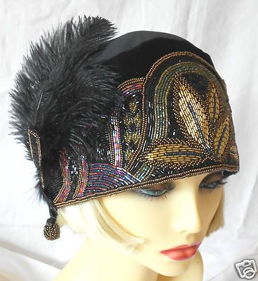 1920s Vintage Inspired Black Beaded Turban Cloche Hat Flapper Gatsby Charleston | eBay