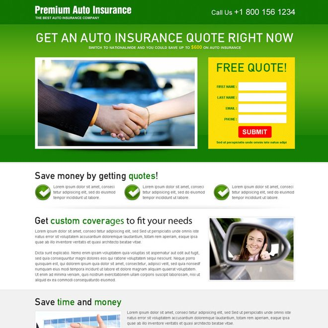 Download Auto Insurance Free Quote Appealing Lead Capture Landing