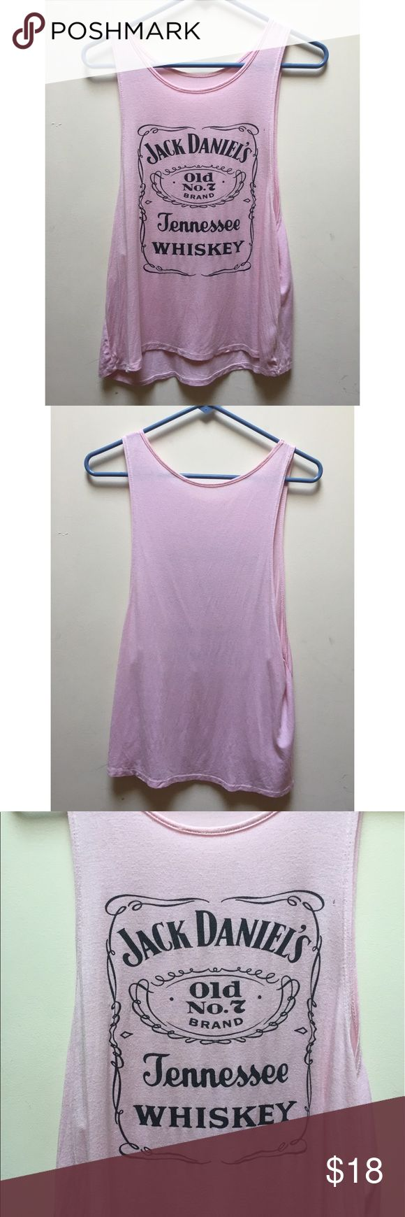 ☀️EUC Jack Daniels Tennessee Whiskey Pink Tank Top Jack Daniels Women's Tennessee Whiskey Number 7 (No.7) in Bubblegum/Blush Pink Tank Top, in excellent used condition, one size fits all Tops Tank Tops