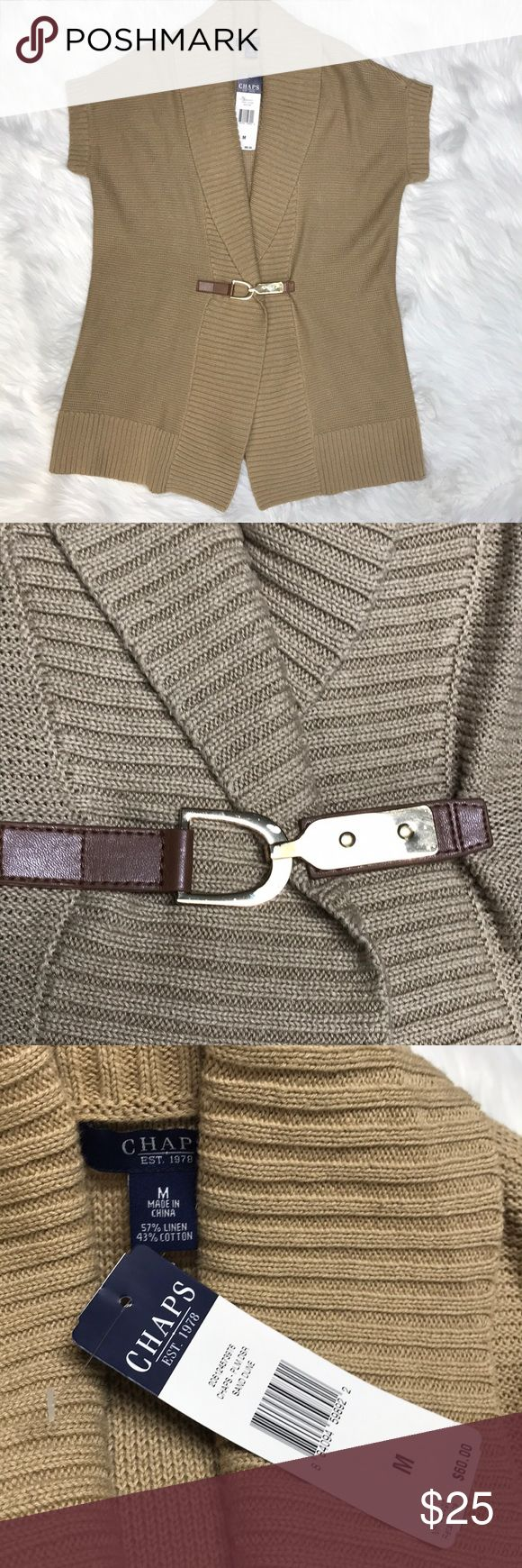 NWT Chaps linen/cotten vest metal buckle Sz Med MOre info to come No trades, offers welcome. Smoke free home & we have a small spaniel (but we don't let her wear our clothes 😂) Chaps Jackets & Coats Vests
