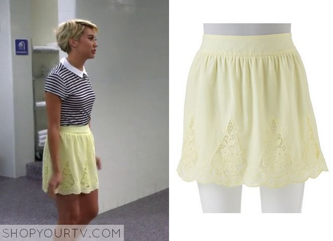Baby Daddy: Season 4 Episode 3 Rileys  Yellow Lace Inset Skirt