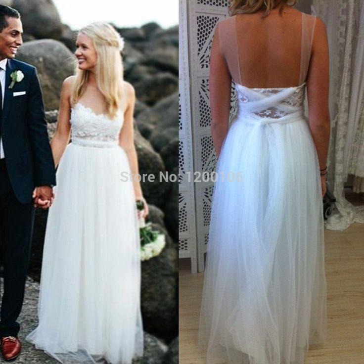 Гламурная милая спинки чисто длиной до пола романтический пляж свадебные платья 2015