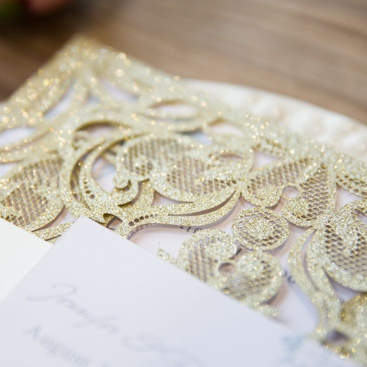 Devana - Elegant Glitter Paper Laser Cut Pocket