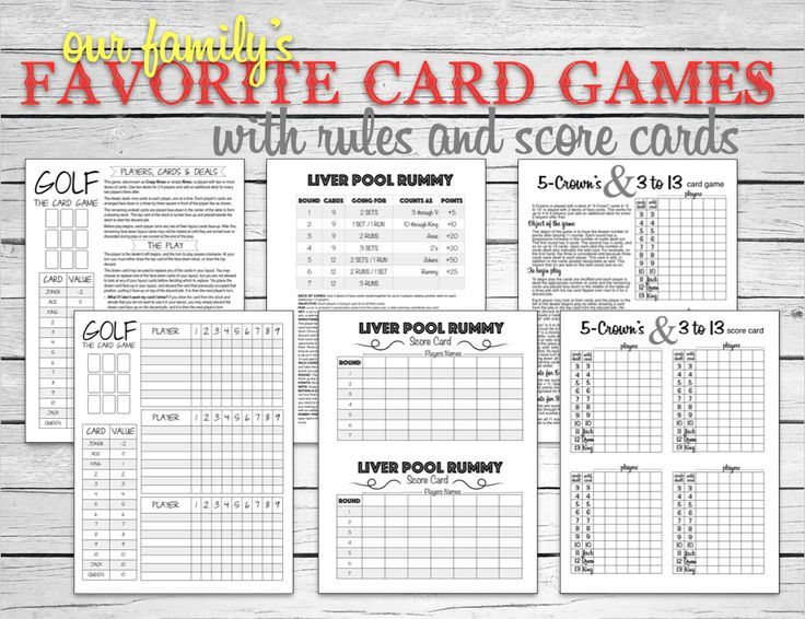 Card games for the whole family...Golf, Liver Pool Rummy, 5-Crowns & 3to 13! Score Cards & rules make it easy and fun to enjoy!