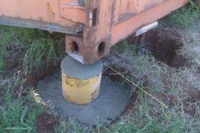 contêiner de transporte pé de concreto