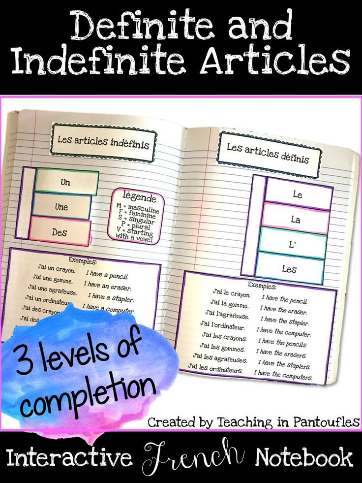 French Interactive notebook activity for definite and indefinite articles. This engaging foldable is differentiated, too!