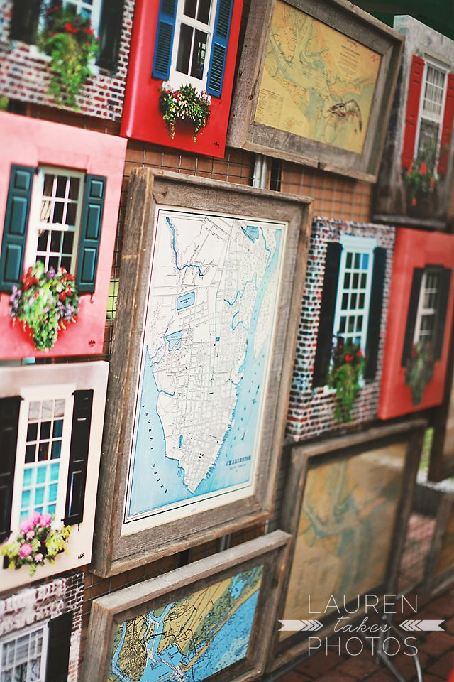 collage of windows // downtown charleston map, charleston farmers market // Lauren Takes Photos
