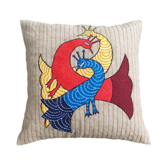 """SALE 50% discount, linen pillow cover, peacock, tribal, bohemian, Indian, craft, folk motif, appliqued & embroidered pillow size 16""""X 16"""""""