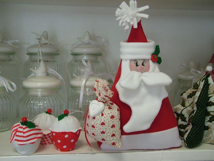 Fermaporta Babbo Natale con Muffin in tessuto da appendere e alberello di Natale in tessuto
