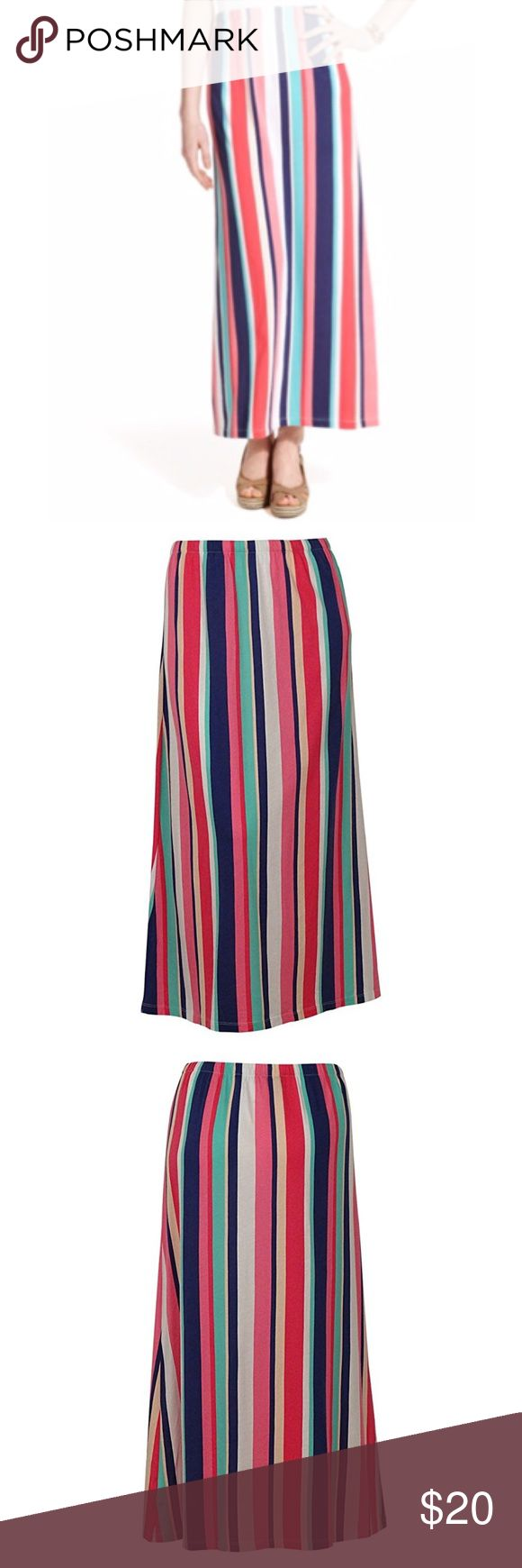 TOMMY HILFIGER Multi Striped Maxi Skirt TOMMY HILFIGER Multi Striped Maxi Skirt.  Multi colored striped.  Long maxi.  Elastic waistband.  Lightweight.  Dimensions: 16 x 1 x 12 inches Tommy Hilfiger Skirts Maxi