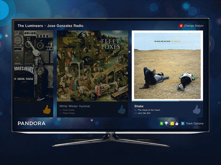 Interactions – Pandora for Smart TVs (@2x) by Drew Christiano