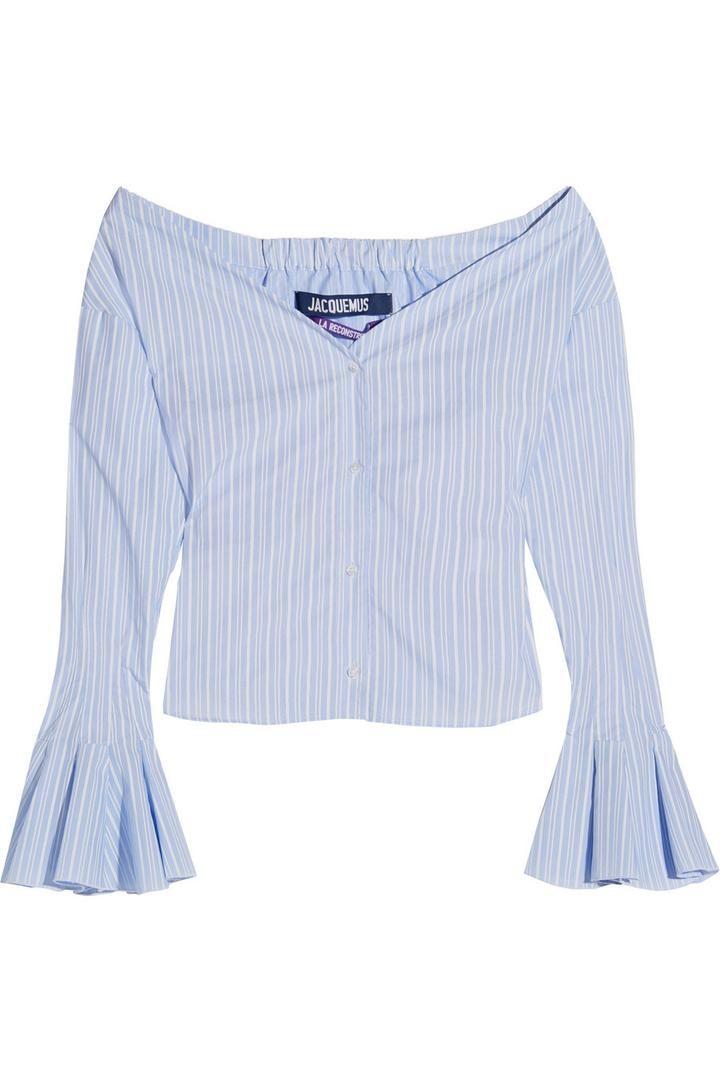 Jacquemus Off-the-shoulder Striped Cotton-poplin Top