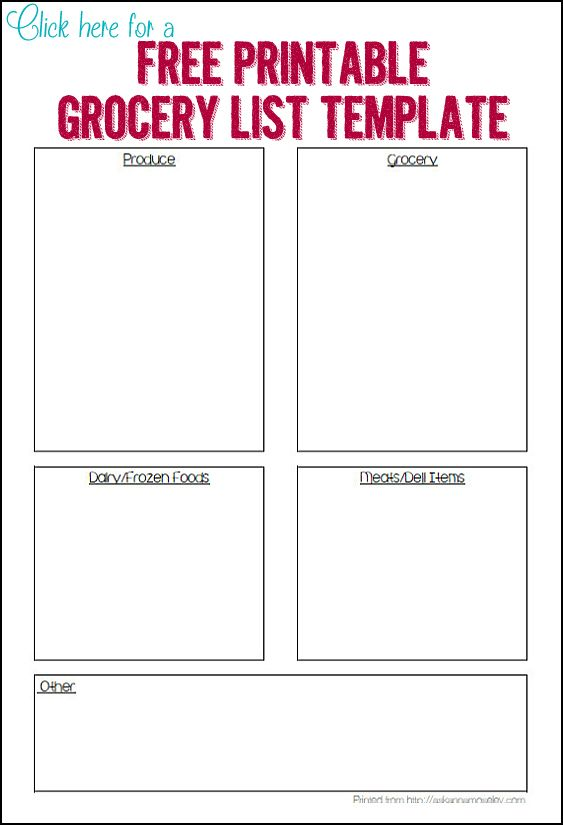 17 Best ideas about Grocery List Templates – Grocery List Organizer Template