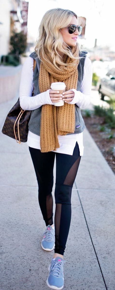 what to wear with a knit scarf bag + leggings + top + sneakers + vest