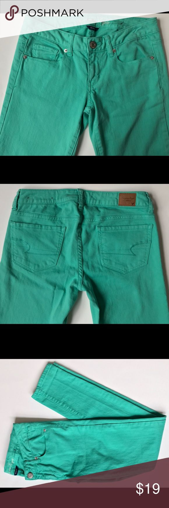American Eagle Mint Green Skinny Jeans *** mint green skinny jeans; size: 2R low rise, zip fly; stretch American Eagle Outfitters Jeans Skinny