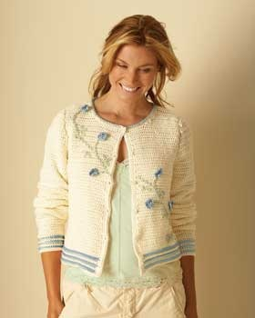 Floral accents give this light and summery cardigan extra flair - Free Pattern