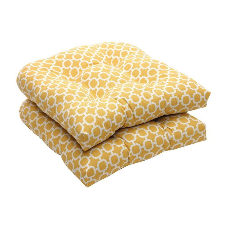 Pillow Perfect Hockley Yellow Geometric Seat Pad For Universal