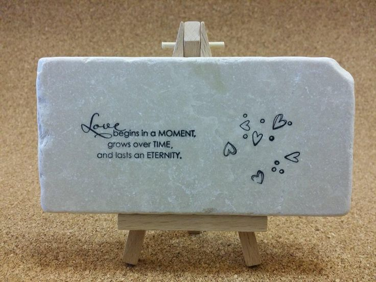 Hand-Stamped love quotes on tumbled Botocino marble!  www.marbledinspirations.ca