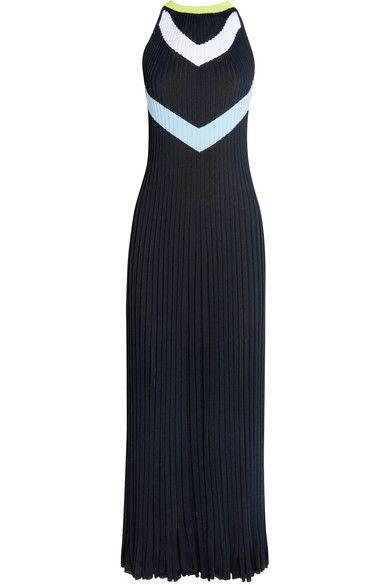 Versace - Intarsia Ribbed-knit Midi Dress - Navy - IT44