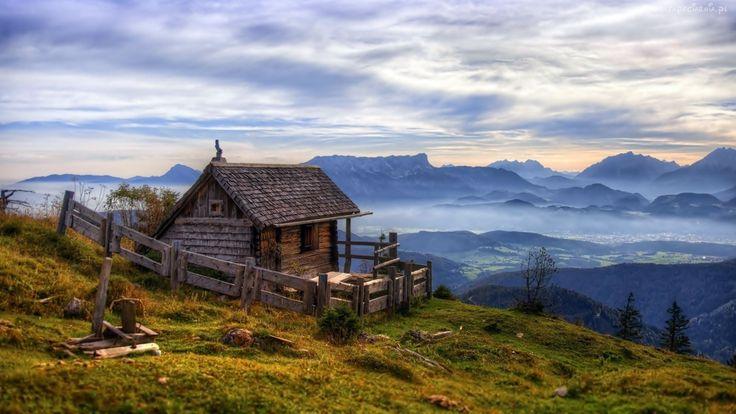 Mały, Domek, Góry, Lasy, Mgła, Dolina, Świt, Austria