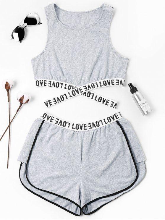 Brief gepatcht Crossover Shorts Set – grau S – asha – #asha # Crossover #gepa … – Damen Mode