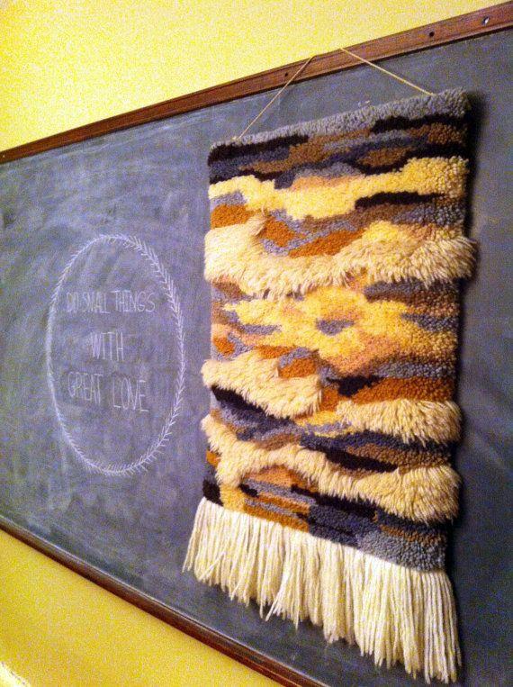 Braided Rug Vintage Latch u Hook Fringe Wall Hanging