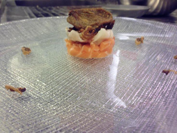 Salmone fichi e lardo