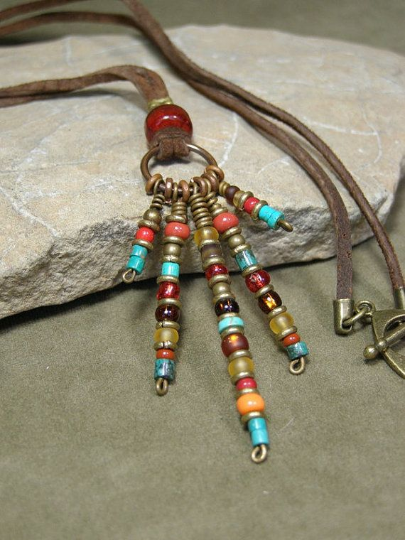 Tribal Necklace - Native Necklace - Leather Necklace - Pendant Necklace - Southwest Jewelry - Seed Bead Pendant - Bohemian Necklace