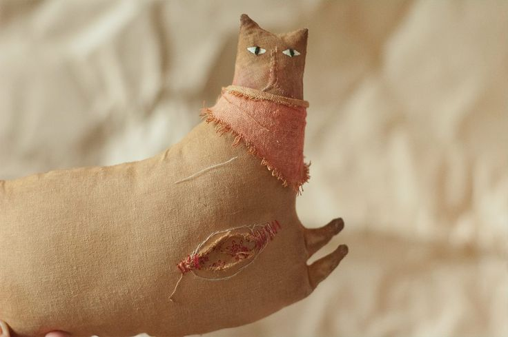 primitive vintage grungy fabric doll