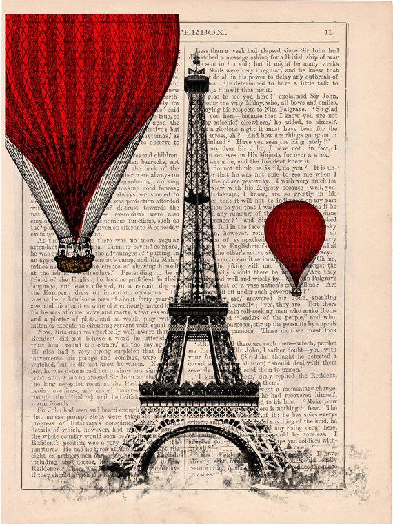 Vintage Book Print -  Eiffel Tower Balloon Ride Print on Vintage Book art. $6.99, via Etsy.