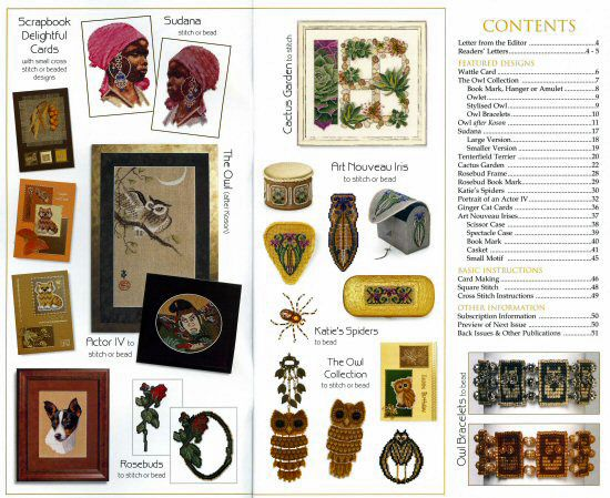 Jill Oxton's Cross Stitch & Bead Weaving issue 80 contents page. Issue 80 us available from Australian Needle Arts