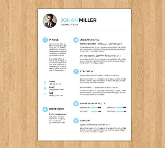 professional and creative resume template word resume cv design portfolio resume ms word photoshop template cv 016 - Resume Template For Word