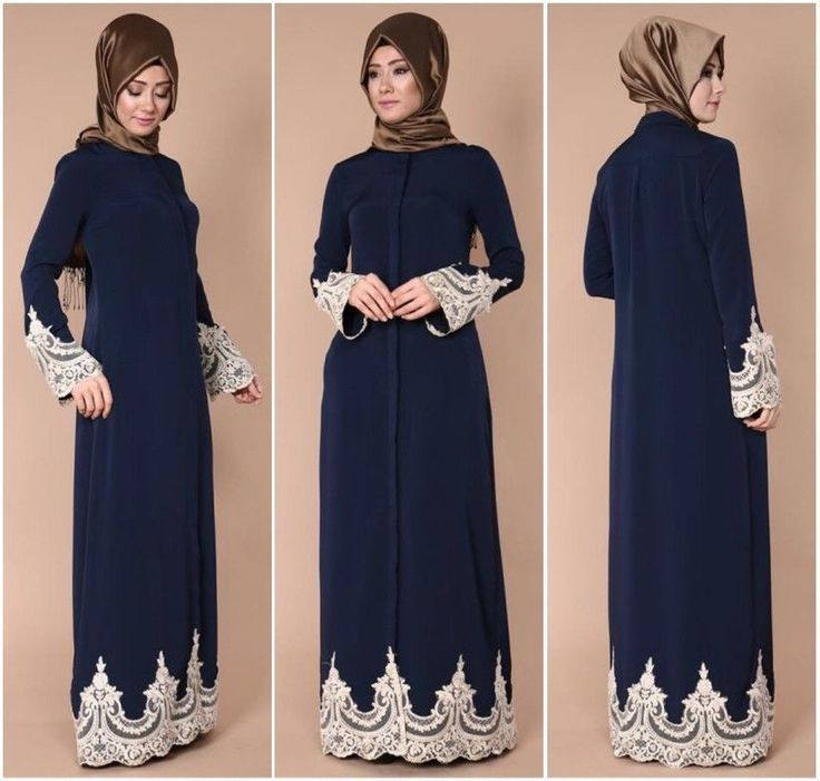 Dubia Style  Open Front Trim Black Abaya Jilbab Muslim Islamic Maxi Dress  | eBay