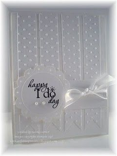 Wedding card with velum embossed and cut into strips.  Could also use in another style card.