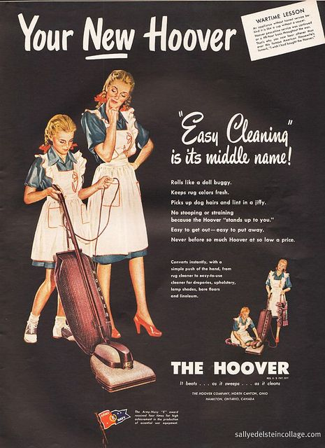 ....is by her daughter's side as she teaches her how to use the Hoover