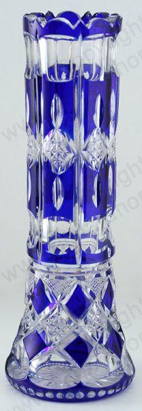ANTIQUE GLASS IN BLUE. c.1910 VAL ST. SAINT LAMBERT COBALT OVERLAY CUT CRYSTAL VASE
