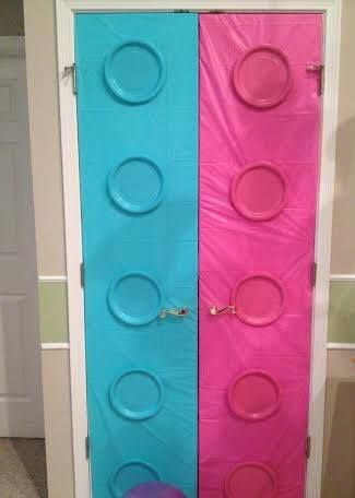Lego Friends | Pantry doors decorated with Plastic Tablecloths - $1/EA and Paper Plates - $1/Pack | Lego Friends Party | Girl Birthday Party