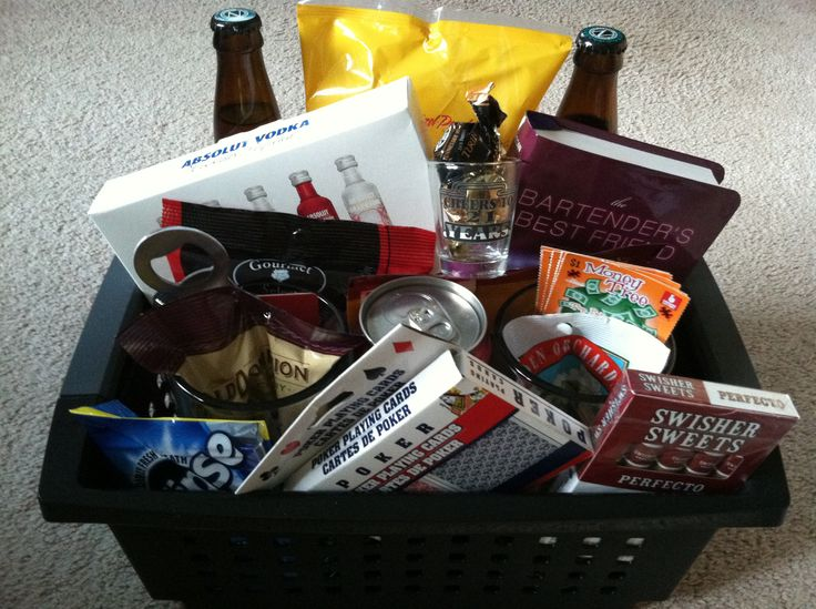 21st birthday bin for my nephew's birthday. Black bin, beer steins, bottled beer, bottle opener, small liquor bottles, canned spiked cola or ice tea, pretzels, snack mix, nuts, beef jerky, shot glass, lottery tickets, liquor filled candy, poker cards, cigars and a bar-tending book.