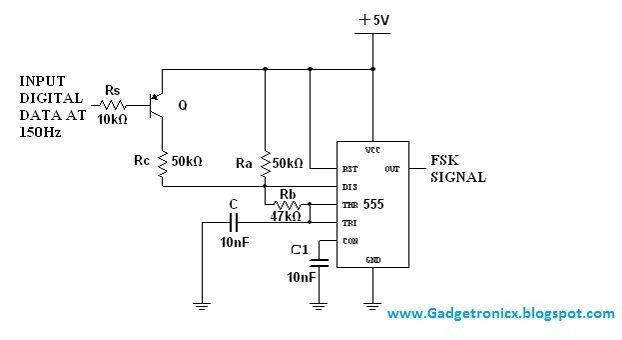 FSK modulator using IC 555 circuit.Production of Frequency Shift Keying FSK circuit using IC NE555.Wireless modem construction using IC NE555.