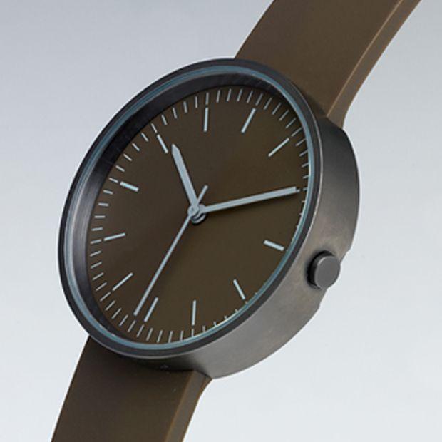 Uniform Wares 103 Series watch in Walnut Brown. Available at Dezeen Watch Store: www.dezeenwatchstore.com