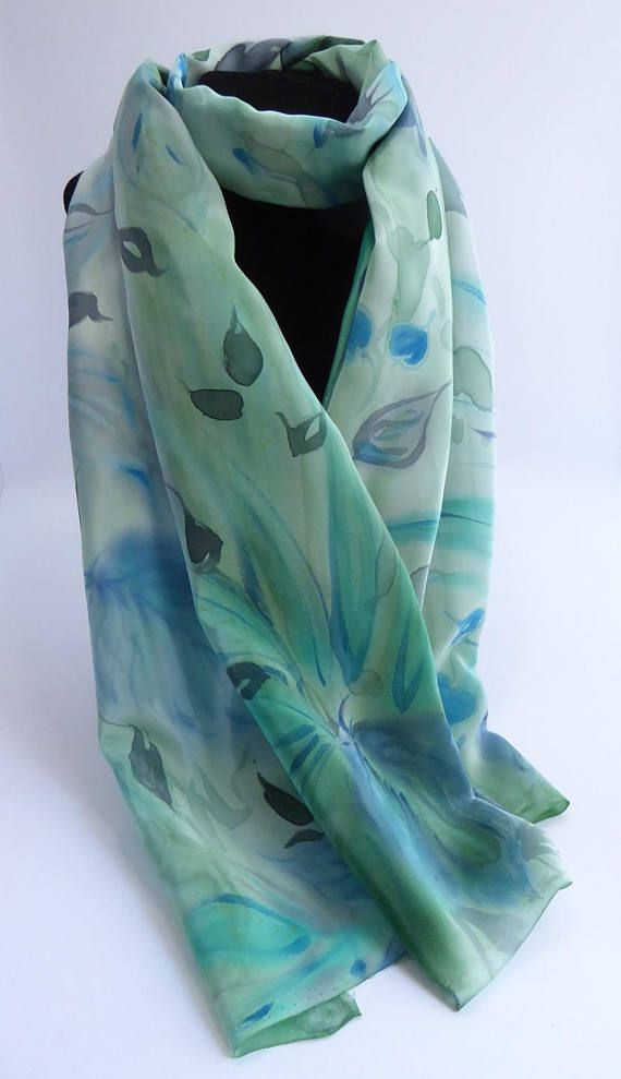 e290a4633cf2 Echarpe étole foulard en Crêpe de Soie peint main Végétal 150 x 45 cm  création unique